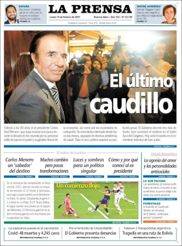 La muerte de Menem abrirá la mayor discusión de la historia argentina